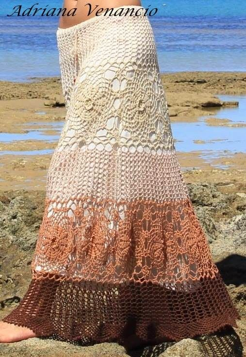 Crochet gypsy style skirt ♥LCS-MRS♥ with diagram ----  ***TOQUE MÁGICO***: LINDA SAIA. ENCONTREI NO FACE.