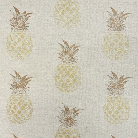 Pineapple Fabric The pineapple is often considered a symbol of hospitality in the home. This fun contemporary linen cotton fabric features a hand block print effect pineapple design in fresh shades of golden yellow on a natural ground.