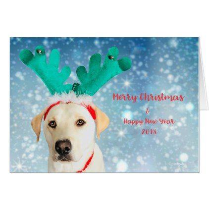 Merry Christmas & New Year Labrador Dog Antlers Card - christmas cards merry xmas diy cyo greetings