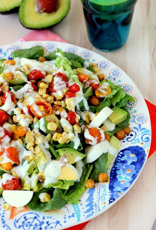 Summer salad - eggs avocado tomato corn