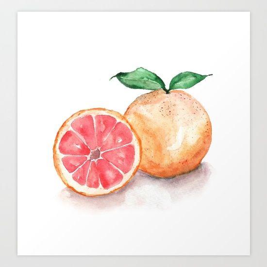 watercolour, watercolor, fruit, painting, orange, green, fruit, food