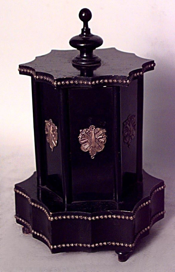 French Victorian black lacquered and bronze trimmed 6 sided cigar holder with mu  | eBay