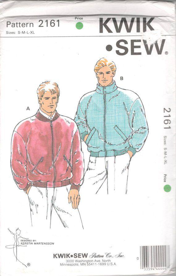 Kwik Sew 2161 1980s Mens Zip Front Lined Bomber Jacket Pattern Patterned Bomber Jacket Kwik Sew Sewing Pattern Sizes