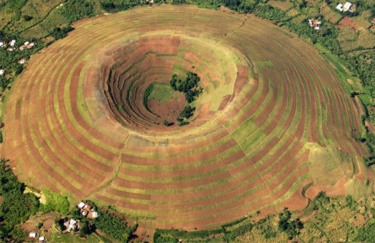Aerial view of terraced volcano, Uganda, Africa