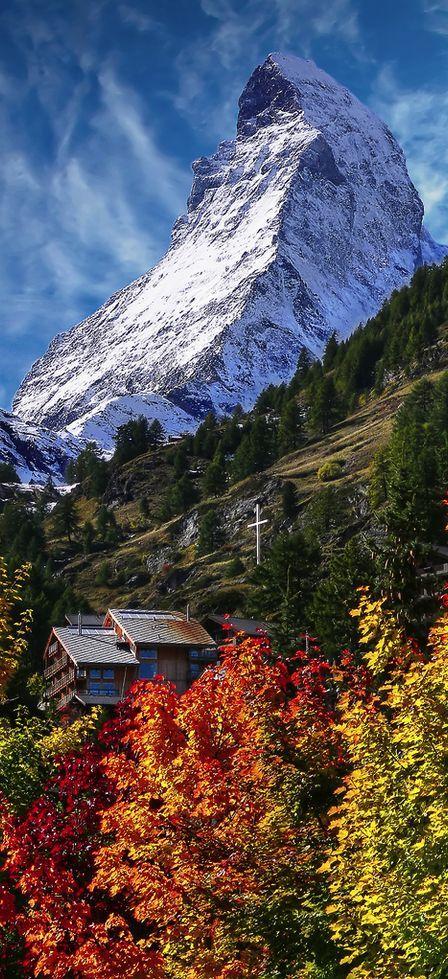 The Matterhorn from Zermatt, Switzerland.