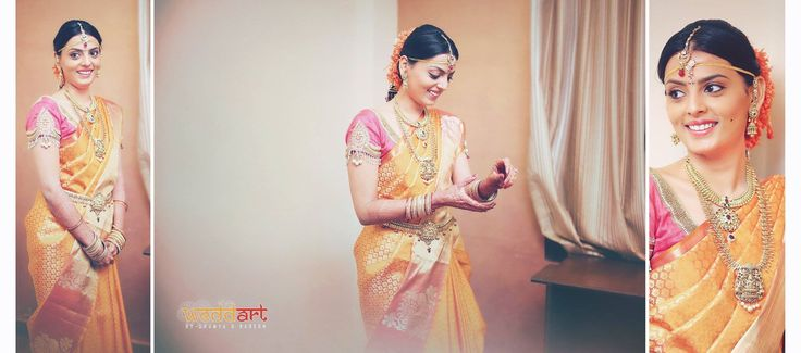 South Indian bride. Temple jewelry.Yellow silk kanchipuram sari with contrast pink blouse.Braid with fresh flowers. Tamil bride. Telugu bride. Kannada bride. Hindu bride. Malayalee bride