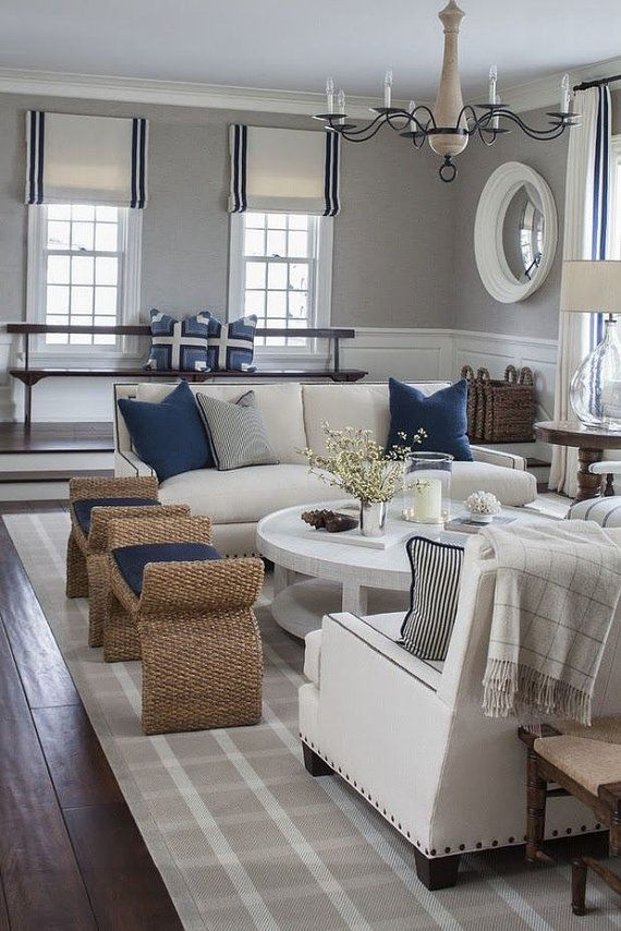 Custom Flat Roman Shade in Linen - great living room in shades of gray, white, and navy.