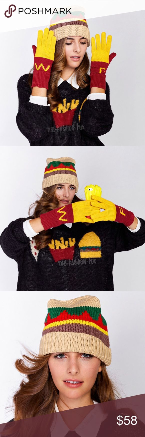 Wildfox Fast Food Burger Beanie + Fries Gloves Set Welcome! ♥ You are viewing a New Wildfox Couture Fast Food Super Size Burger Knit Beanie Hat + Super Fries Finger Food Gloves Set. Keep yourself stylishly warm in this fast food inspired beanie hat and gloves set by Wildfox. The knitted beanie features colorful embellished stripes and a ribbed, folded brim. The plush two-tone knit gloves have 'F' letter detailing on one hand and 'W' letter detailing on the other. Items are sealed in retail…