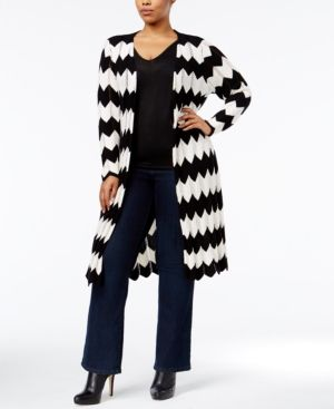 Ny Collection Plus Size Chevron Duster Cardigan - Black