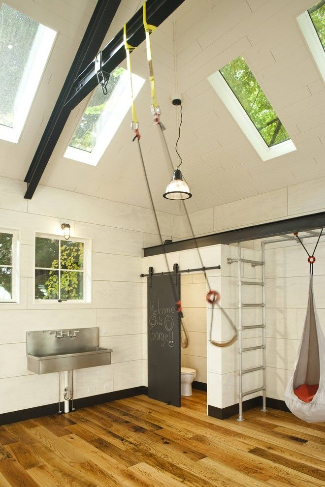 Garage renovated for family play - traditional - garage and shed - seattle - Menter Architects LLC