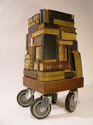 Book Tower. Wheeled sculpture by Wayne Chisnall.: Bookart, Books Art, Assembly, Books Towers, Wayne Chisnal, Altered Books, Wheels Sculpture, Altered Art, Photos Shared