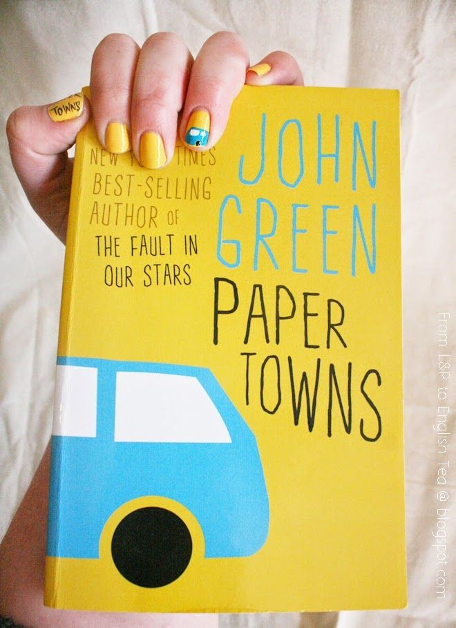 Nail art inspired by Paper Towns by John Green and created by Anjali: http://fromlandptoenglishtea.blogspot.com/2014/12/book-cover-nails-paper-towns-john-green.html