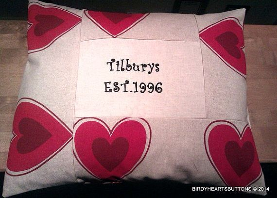 Personalised Family EST. date cushion cover by Birdyheartsbuttons, £20.00
