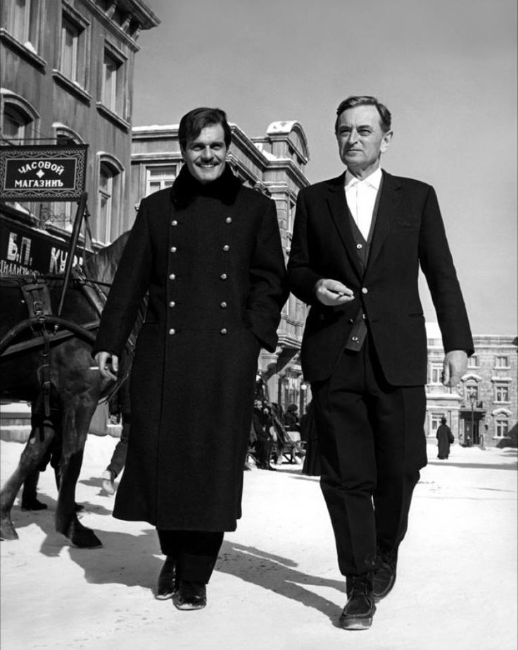 "Omar Sharif and David Lean on the set of ""Doctor Zhivago"". 1965"