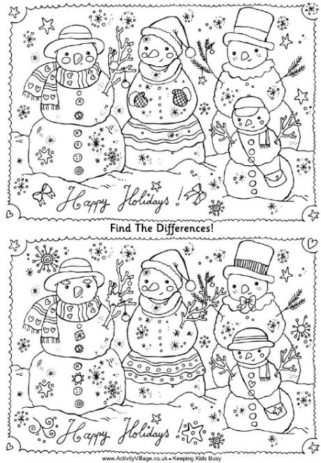 Find the differences family of snowmen puzzle free printable. LOTS of other activity choices as well! Great site!
