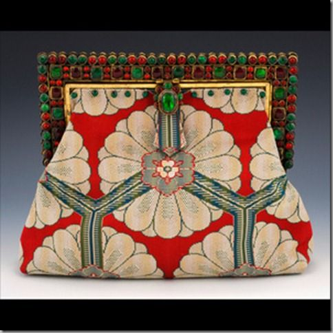 India Art Deco : Antique glass handset jewel frame, circa 1920. Antique woven silk textile with unusual deco pattern.