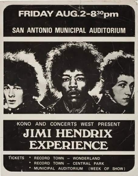"""August 2nd,1968. A 40- Minute Set By """"The Experience"""" Is Performed At The Municipal Auditorium In San Antonio,Texas. Their Set Included Performances Of """"Purple Haze"""", """"Fire"""", """"Foxey Lady"""", """"Hey Joe"""", """"Red House"""", & """"Tax Free"""", Among Others. Hendrix Closes The Set With A Destructive Sequence, Has Him Destroying His Stratocaster & Smashing Several Amps On Stage."""