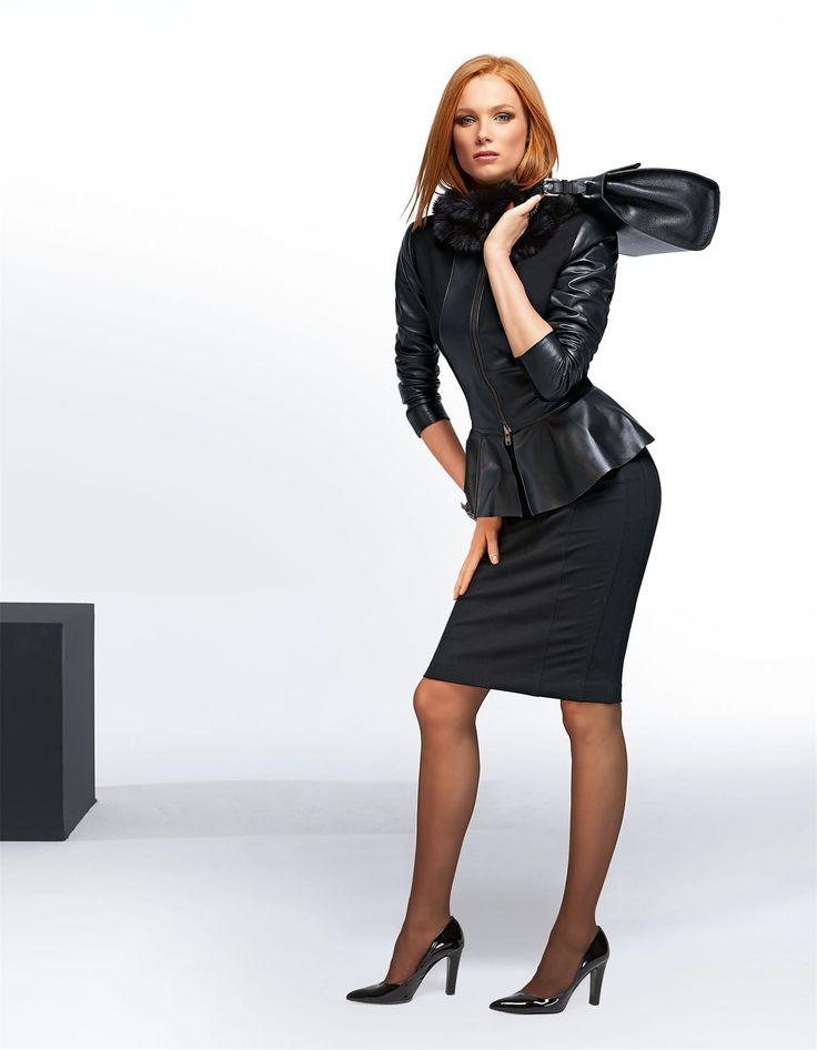 Schößchen-Jacke im Material-Mix in der Farbe schwarz - im MADELEINE Mode Onlineshop