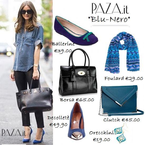 Blu e Nero per un outfit casual.. Decolltè http://www.paza.it/produkt/4383,kaliope-navy-pumps Ballerine http://www.paza.it/produkt/3512,chuchu-navy-ballet Shopper http://www.paza.it/produkt/4703,women-black-satchel Clutch http://www.paza.it/produkt/5424,triangle-blue-clutch orecchini http://www.paza.it/produkt/1072,blink-blue-mirror Foulard http://www.paza.it/produkt/5484,galena-blue-scarf