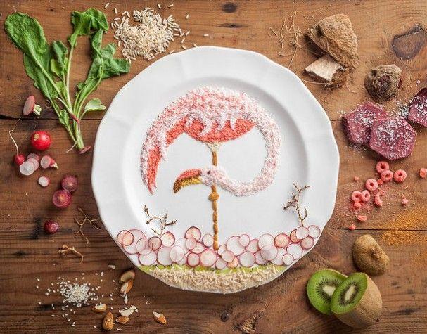 Vogel illustratie gemaakt van eten