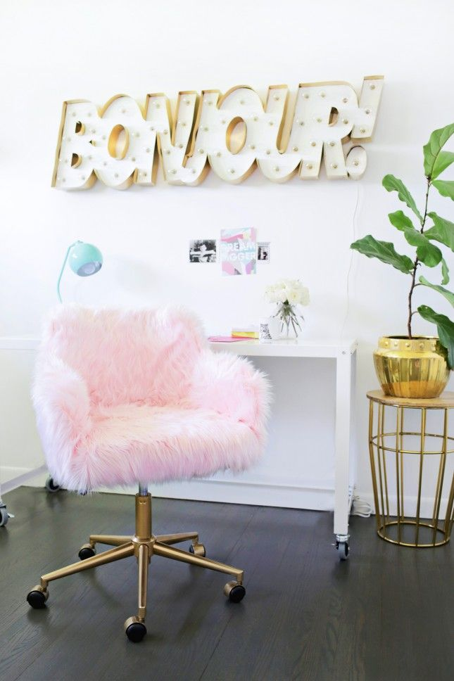 Yes, you need to make this DIY furry pink chair for your home office.