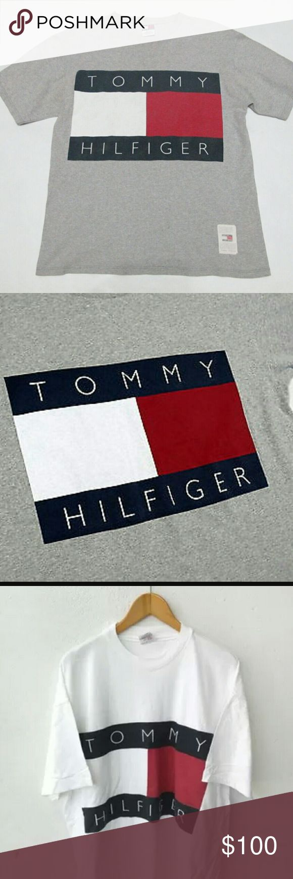 90s Rare Vintage Tommy Hilfiger T-Shirt 90s Vintage, Big Logo, Grey, Unisex L or XL! Tommy Hilfiger Tops Tees - Short Sleeve