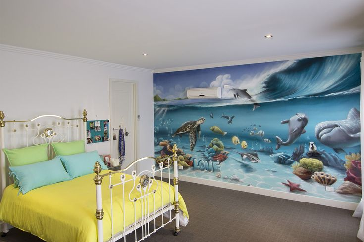 Underwater Kids Room  #dubiz #custom #interior #mural #spraypaint #aerosol #wall #setitoffdecor #setitoff #sio #graffitiartistmelbourne #graffitimural #graffiti #art #wallart #streetart #graffiti #artistic #design #landscape #urbanart #urbandesign #interiordesign #interiors #homefashion #accessories #design #underwater #animals #kidsbedroom #bedroom #wallartideas #ideas