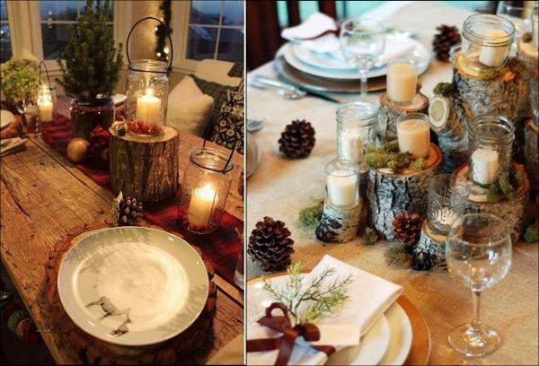 Festliche Deko-Beleuchtung Rustikal Baumstrunk-Birke Kerzenlicht-Herbst Winter Tischdekoration