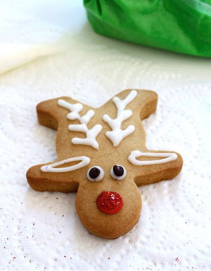 upside down gingerbread men make flat laying reindeer!!