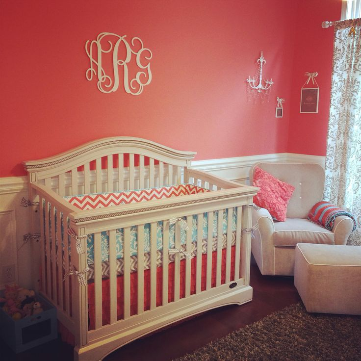 Annsley S Coral Grey And Aqua Nursery Nursery