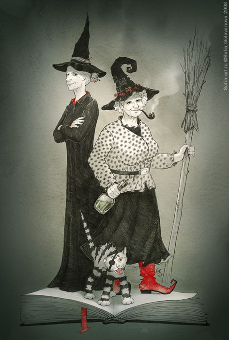 Granny Weatherwax and Nanny Ogg by Sofia Golovanova