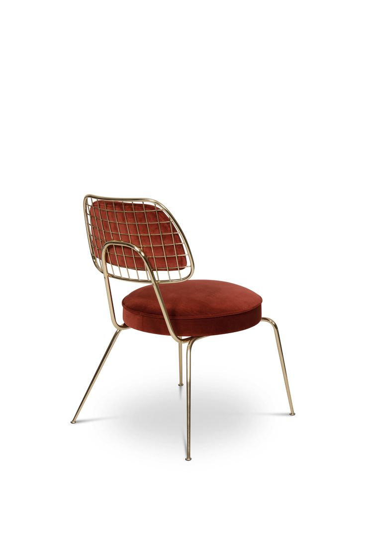 Marie is a rather an occasional dining chair that incorporates all of the mid-century elements into a contemporary vision. Its construction features slim legs made of polished brass, a round pad upholstered with a seductive velvet and a round back. It has no armrests, so it is also perfect for casual interiors like bars or restaurants.