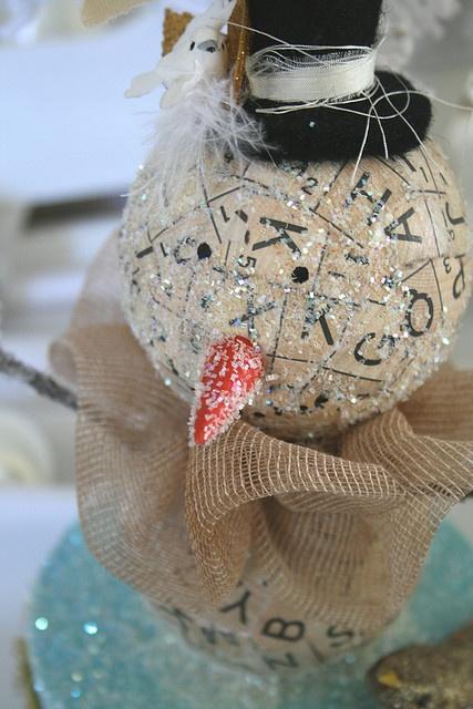 made of paper scrabble tiles. a tea dyed fabric collar. felt wool hat. cream glitter