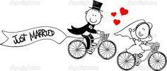 bruid en bruidegom op de fiets geïsoleerd op een witte achtergrond, ideaal voor grappige bruiloft uitnodiging, vector formaat zeer gemakkelijk te bewerken, afzonderlijke objecten - Stockillustratie: 27411831