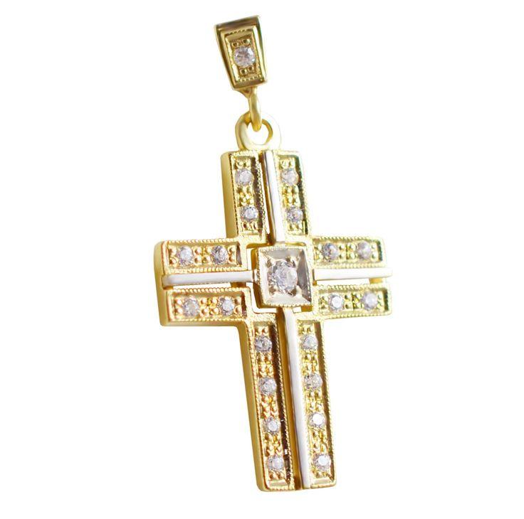 Χρυσός βαπτιστικός σταυρός με ζιργκόν