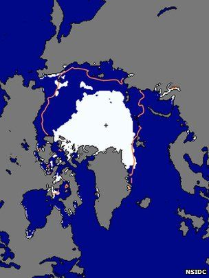 Arctic sea ice looks set to hit a record low by the end of the month, according to satellite data.    Scientists at the US National Snow and Ice Data Center said data showed that the sea ice extent was tracking below the previous record low, set in 2007.