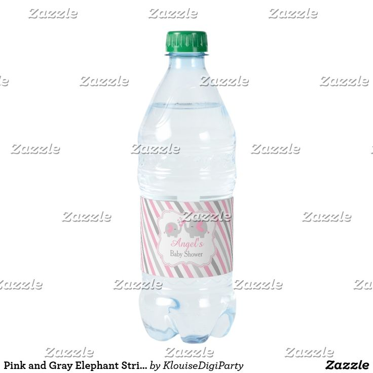 Pink and Gray Elephant Stripes Baby Shower Water Bottle Label