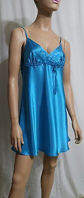 Macy's NWT Morgan Taylor SECRET GARDEN GLOSSY Satin NIGHTIE Chemise TURQUOISE  M