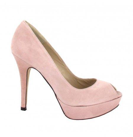 Zapato peep toe de tacón alto en rosa palo Menbur #zapatos #novia
