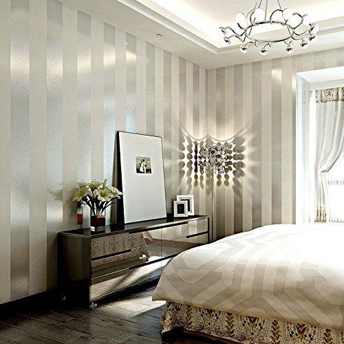 LXPAGTZ Carta da parati in tessuto non tessuto moderno semplice camera da letto salotto bianco e nero strisce verticali blu Mediterraneo orientale parete carta da parati lungo 9.5 m * largo 0,53 m (5 m ²) , 11083 white silver: Amazon.it: Casa e cucina