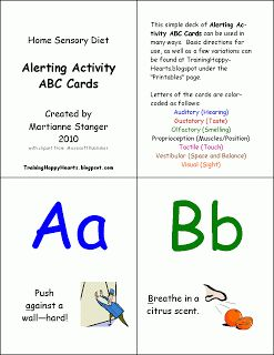 Training Happy Hearts: Alerting Activity ABC Cards Sensory Diet Ideas