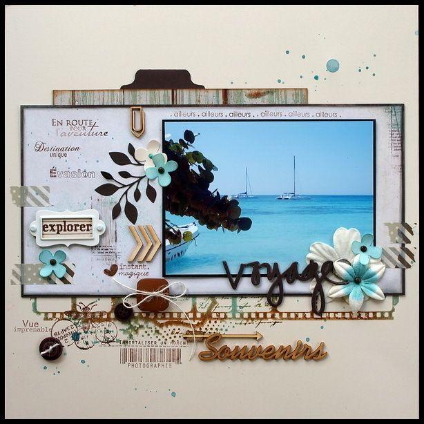 Bayahibe, les papiers Blue Bay de kaisercraft et hop une petite page juste pour le plaisir de scraper. Tampons: Florilèges Design, Carabelle,...
