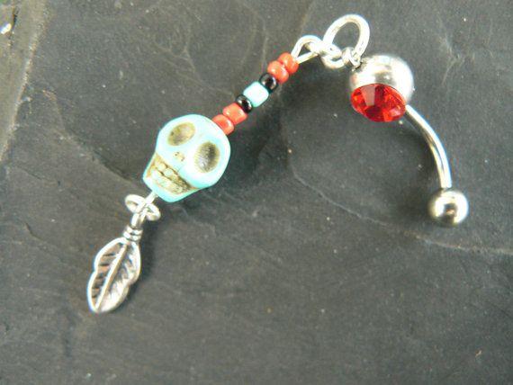 Day of the dead belly ring Día de los Muertos RED by gildedingypsy, $16.50