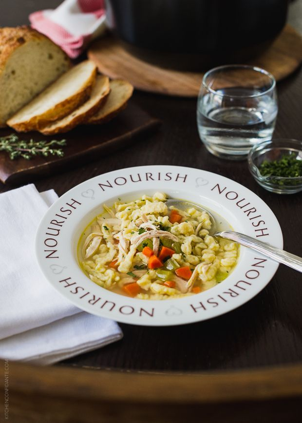 Chicken and Herb Spaetzle Soup | www.kitchenconfidante.com | Nourish your family with a bowl of soup. If you've never tried homemade spaetlze, you'll love how fun and easy it is!