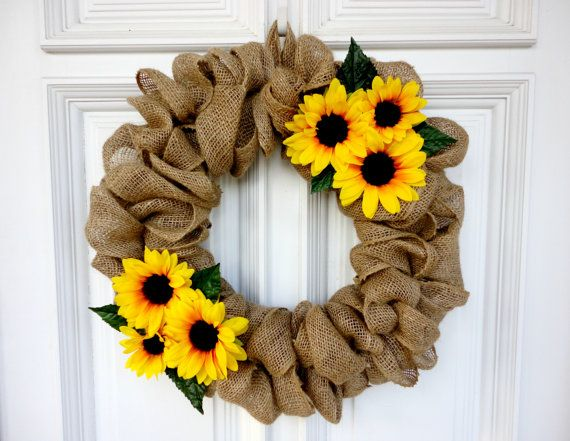 Sunflower Burlap Wreath  16 by SweetnSouthern on Etsy, $30.00