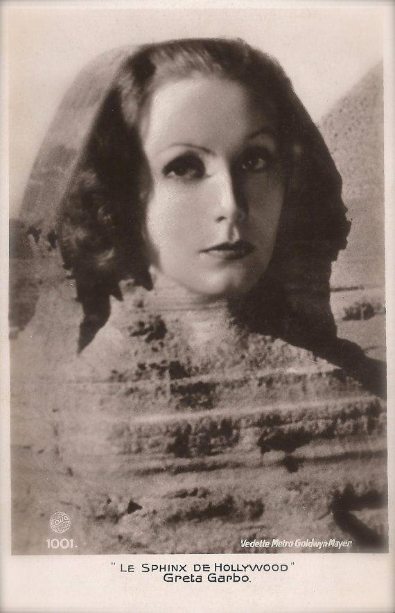 Greta Garbo, Famous Hollywood Swedish Actress Fantasy Photomontage as The Egyptian Sphinx of Giza Original Rare 1930s Collectors Postcard!!!
