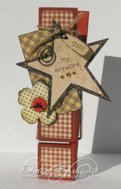 Altered Clothespin Magnet in the February 2013 issue of Scrapbook News and Review Magazine