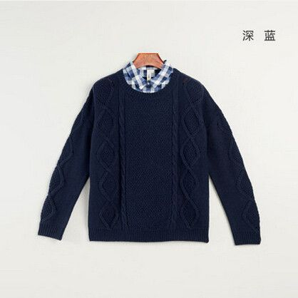 Toyouth 2017 New Arrival Women Solid Sweater Lattice Turn-down Collar Winter Fashion Loose Sleeve Computere Knitted Pullovers