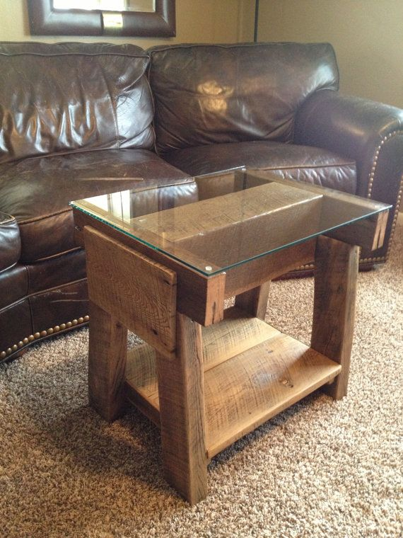 Barnwood Glass Top End Table by little1created on Etsy