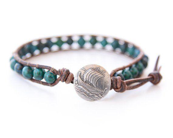 5e944ba29 Mens Viking Boat Leather Bracelet Mens Leather bracelet Mens Beaded Bracelet  Viking Boat Bracelet Nautical Bracelet Sailing Mens Jewelry in 2019    Products ...